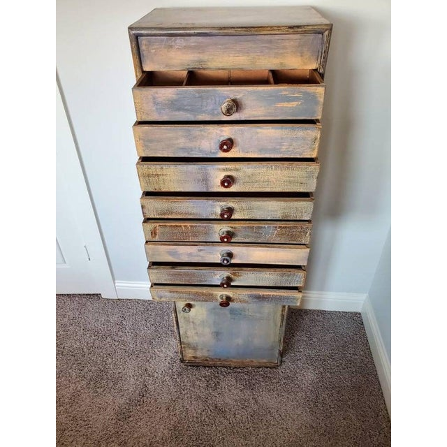 Wood Early 20th Century Industrial Distressed Painted Chest For Sale - Image 7 of 11