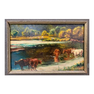 "James McDougal Hart (1828-1901) ""Cattle at Water's Edge"" Original Painting C.1890s For Sale"