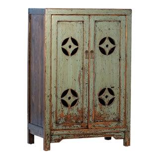 Vintage Green Village Cabinet For Sale