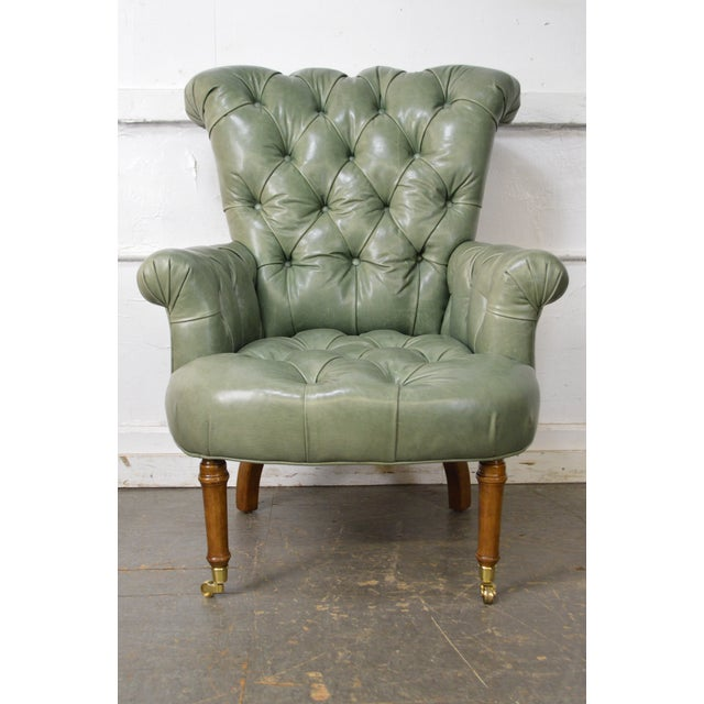 Green Regency Style Custom Quality Green Leather Tufted Library Wing Chair For Sale - Image 8 of 13