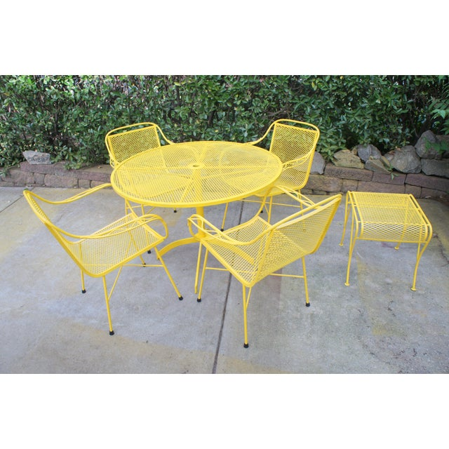 Mid Century Modern Buttercup Yellow Wrought Iron Patio Dining Set- 6 Pieces For Sale - Image 13 of 13