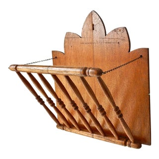 1900s Victorian Wall Hung Oak Magazine Rack For Sale