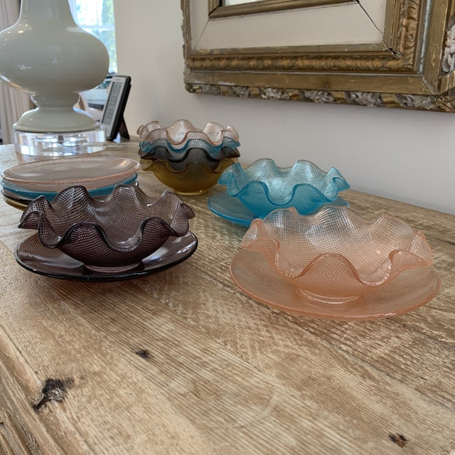 Colorful Vintage Glass Dessert Bowls and Saucers For Sale - Image 10 of 12