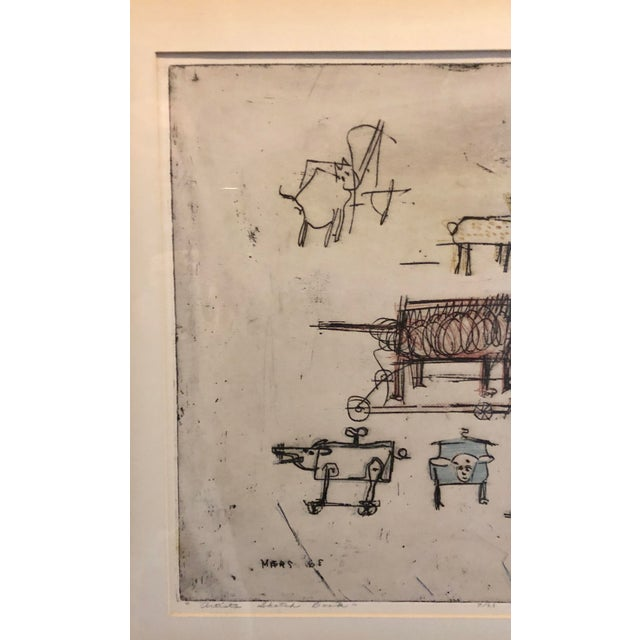 """1963 """"Artists Sketch Book"""" 7/25 Original Itaglio by Malcolm H. Myers, Framed For Sale - Image 4 of 13"""