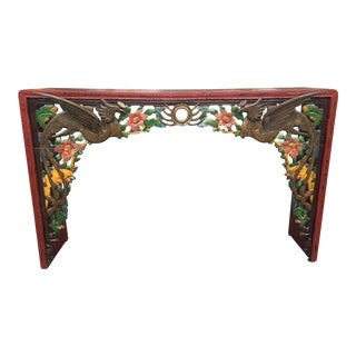 Carved Asian Altar Table Console For Sale