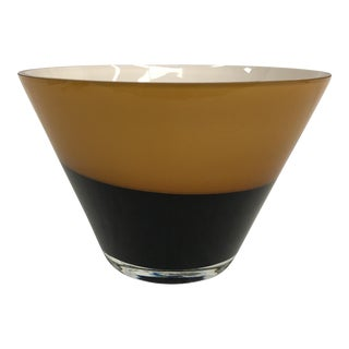 Mid-Century Black & Amber Glass Polish Bowl