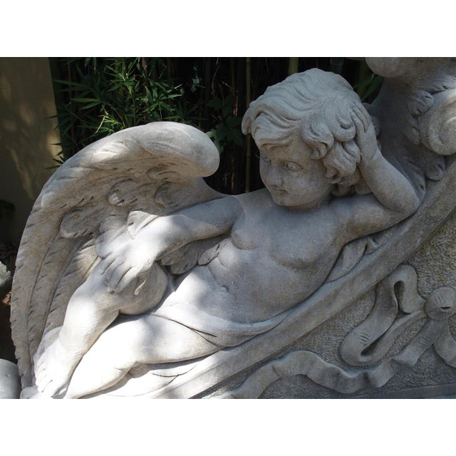 Winged Cherubs Carved Limestone Garden Bench from Italy - Image 6 of 11