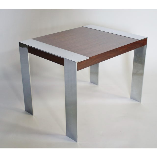 Silver 1970s Milo Baughman Rosewood and Chrome Side Table For Sale - Image 8 of 8
