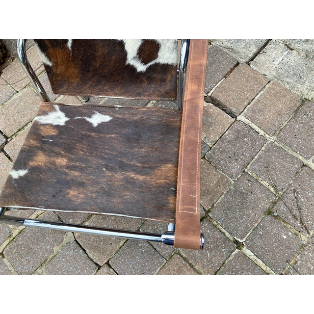 Le Corbusier Vintage Mid Century Crome and Pony Arm Chair For Sale - Image 4 of 8