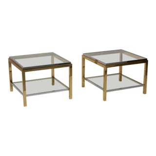 Set of Two Brass and Chrome Side or Coffee Tables by Maison Charles For Sale