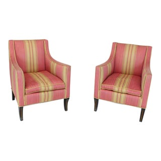 1960s Vintage Silk Upholstery Down Filled Art Deco Neoclassical Compact Arm Club Chairs- A Pair For Sale