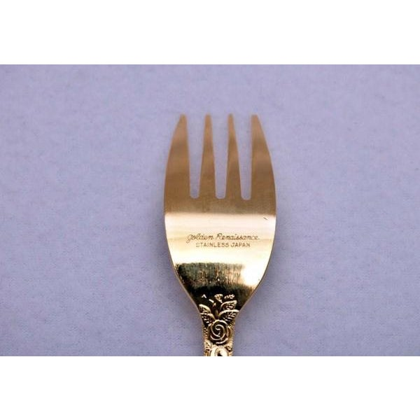 "Golden Renaissance ""Rose"" Stainless Flatware - Set of 50 For Sale - Image 4 of 6"