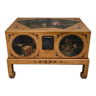 Antique Chinese Painted Leather Chest on Stand For Sale
