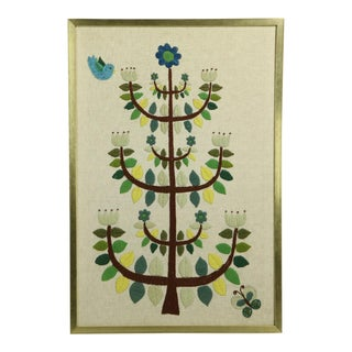 Framed970s Crewelwork Needlepoint of Stylized Tree For Sale