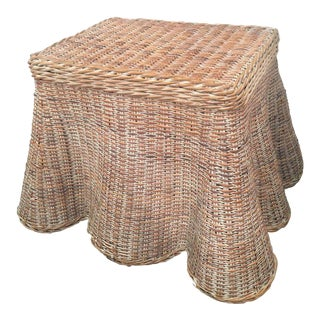 Vintage Draped Wicker Side Table Coffee Cocktail For Sale