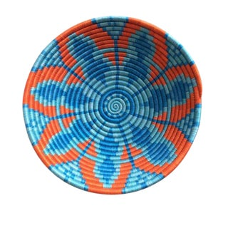 African/Rwandan Orange and Turquoise Grass and Sisal Woven Basket For Sale
