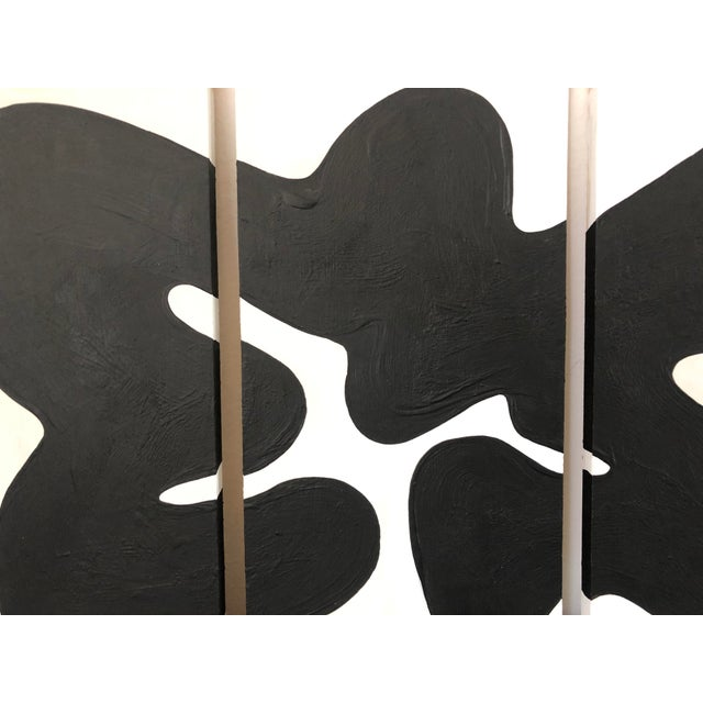 Black and White Oversized Abstract Triptych For Sale - Image 4 of 5