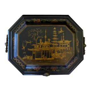 A Rare and Unusual English Ebonized Painted Metal Coal Bin With Chinoiserie Decoration For Sale