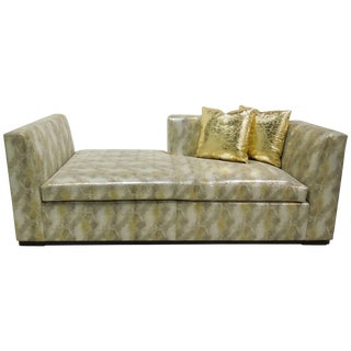 Contemporary Custom Made Modern Metallic Leather Sofa/Chaise For Sale