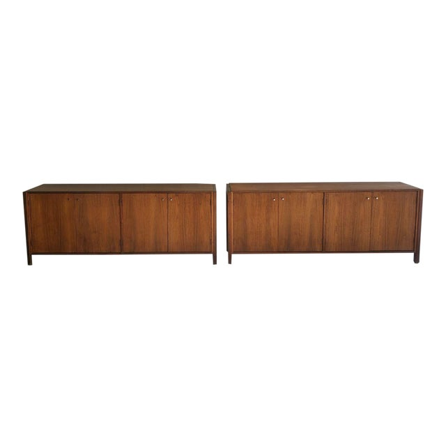 Mid-Century Modern Solid Wood Credenzas - A Pair For Sale