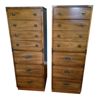 Mid Century Campaign Lingerie Chests - a Pair For Sale