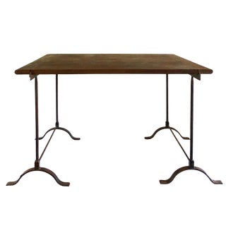 1940s French Wrought Iron and Wood Trestle Bistro Table For Sale