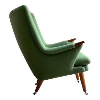 Papa Bear Armchair Pea Green Midcentury Danish, circa 1950 For Sale