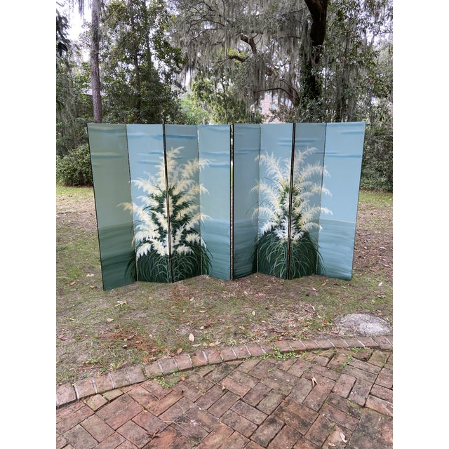 Pair Late 20th C. Hand-Painted Screens - Coastal Landscape For Sale - Image 13 of 13
