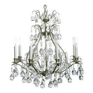Brushed Nickel and Raindrop Bubble Crystals Eight-Arm Chandelier For Sale