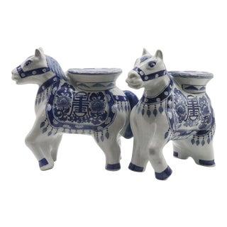 Rare Blue & White Chinoiserie Garden Stool Horses - Pair For Sale