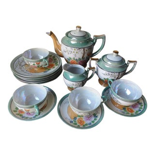 Hand Painted Japanese Luster Ware Porcelain Tea Set - 12 Pc. For Sale