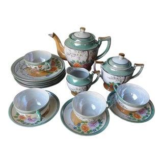 Hand Painted Japanese Luster Ware Porcelain Tea Set - 12 Pc.