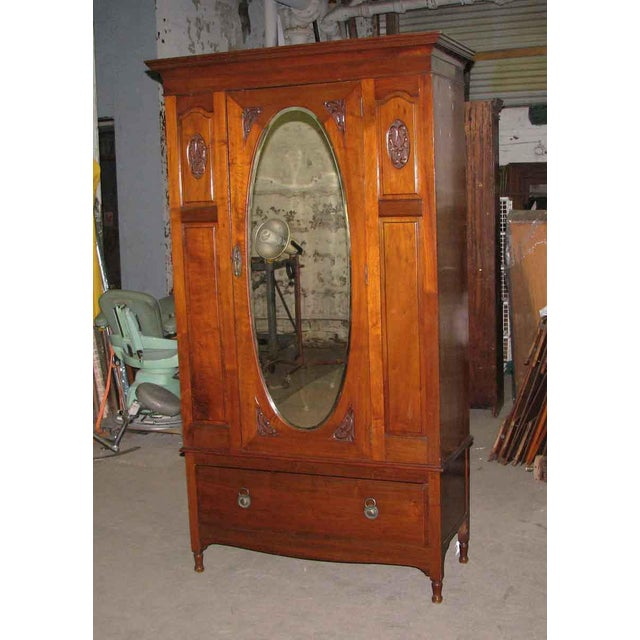 Early American Early American Carved Cherry Armoire With Beveled Mirror For Sale - Image 3 of 10