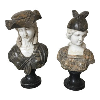 Italian Statues Bust in Marble and Soap Stone - Set of 2 For Sale