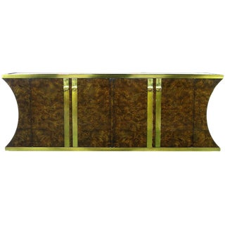Mastercraft Amboyna Burl and Brass Concave Curve Sideboard For Sale