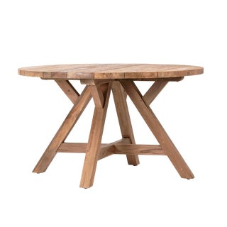 Round Salvaged Teak Dining Table Small For Sale