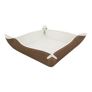 Change Tray in Leather Grainé White and Taupe For Sale