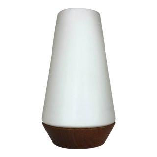 Vintage 1960's Danish Modern Teak Glass Table Lamp For Sale