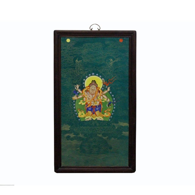 Art Deco Chinese Porcelain Teal Blue Tibetan Deity Painting Wall Decor For Sale - Image 3 of 9