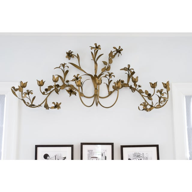 Mid-Century Modern Brass Flower Candle Wall Hanging For Sale - Image 3 of 4