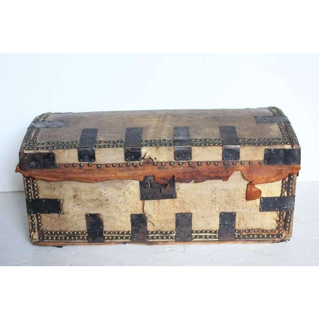 Mid 19th Century Antique Decorative Leather & Iron Trunk For Sale - Image 4 of 4