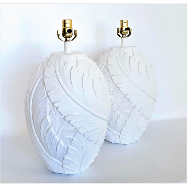 Large Serge Roche style vintage plaster palm tree or banana leaf lamps. A nice larger impressive size lamp. This...