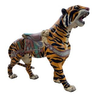 Large Midcentury Carousel Tiger Manner of d.c. Muller for Dentzel Company Philadelphia For Sale