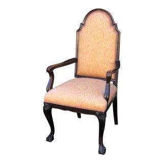 Antique English Oak Chippendale Arm Chair With Ralph Lauren Paisley For Sale