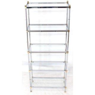 Mid-Century Modern Brass Chrome Glass Tall Etagere Preview