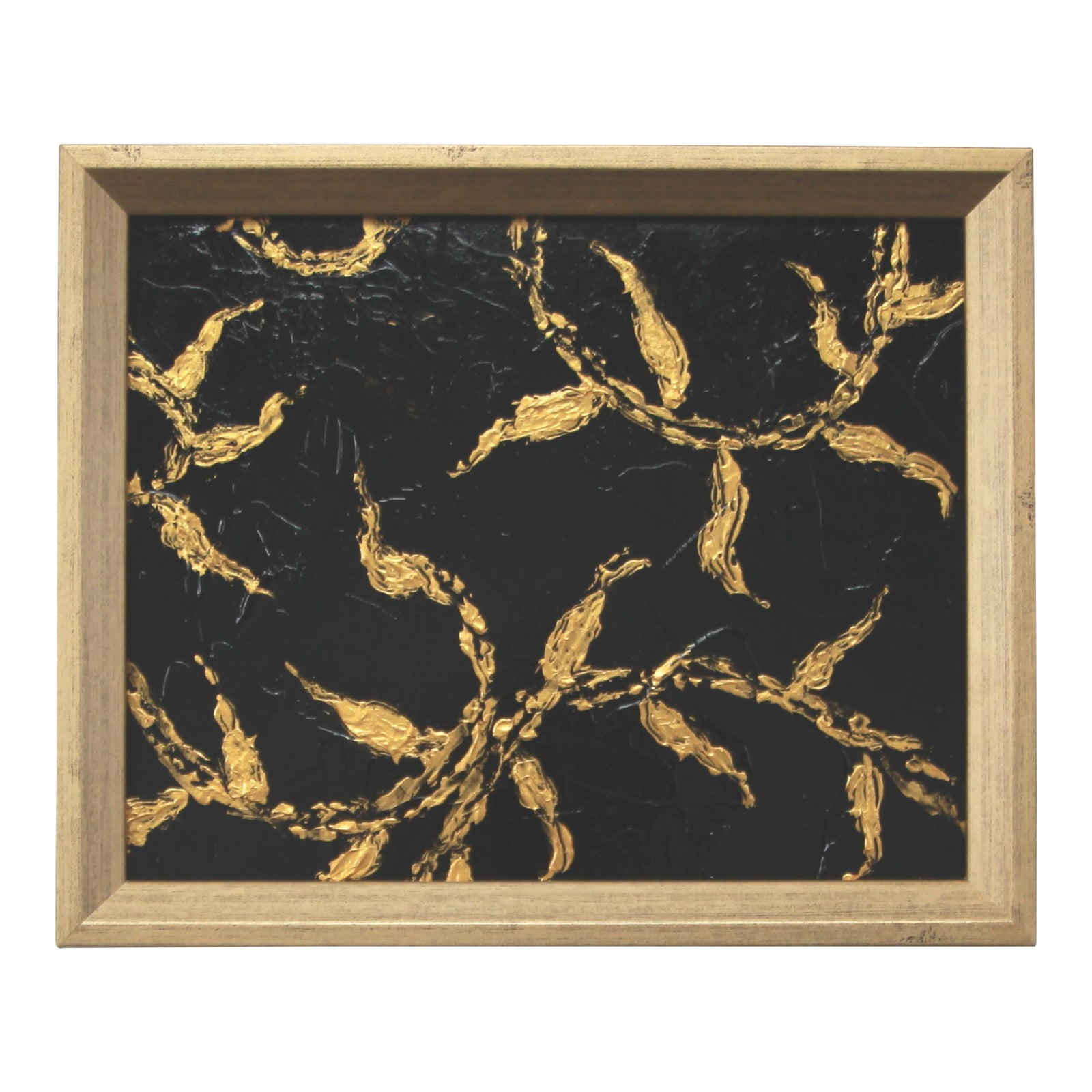 Metallic Gold & Black Abstract Leaf & Vine Painting By