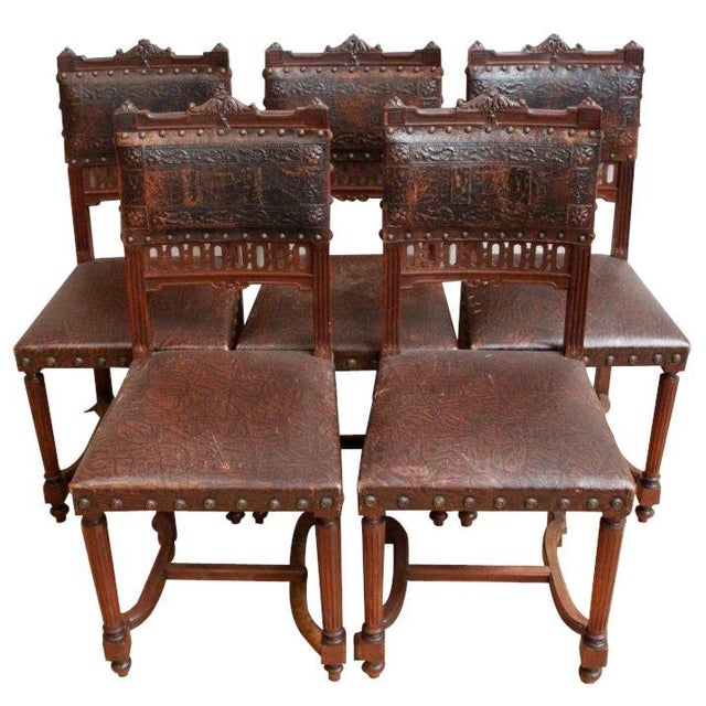 French Antique Dining Chairs - Set of 5 - Image 1 of 5