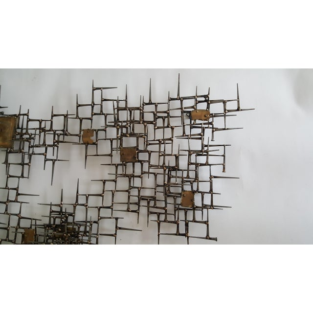 Abstract Brutalist Metal Wall Sculpture of Bronze and Brass - Image 6 of 8