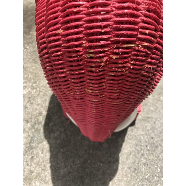 Mid-Century Red Wicker Elephant Table For Sale - Image 4 of 5