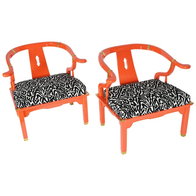 Pair of Asian Ming Chairs James Mont Style by Century Furniture For Sale